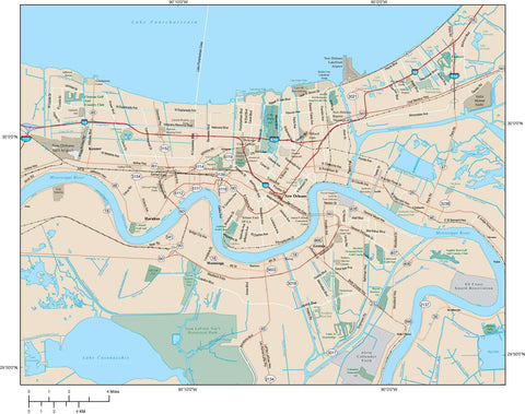 New Orleans Map Adobe Illustrator vector format NOR-XX-984789