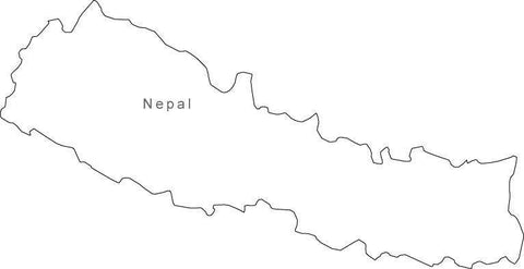 Digital Black & White Nepal map in Adobe Illustrator EPS vector format