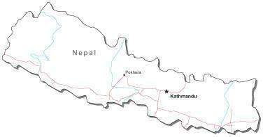 Nepal Black & White Map with Capital Major Cities and Roads