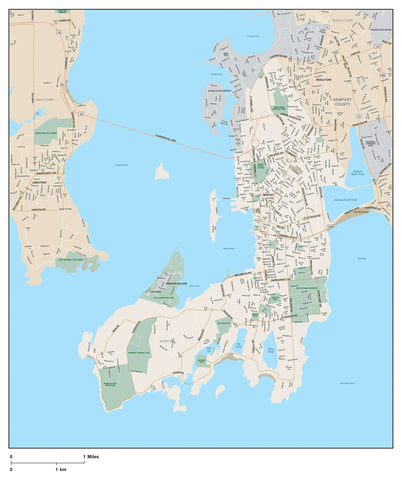 Newport RI Map with Local Streets