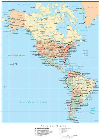 North and South Americas Map with Country Boundaries, US States, Canadian Provinces, Major Cities, Roads, Rivers and Lakes