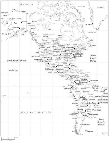 Black & White North and South America Map with Countries, Capitals and Major Cities - NS-AMR-533916