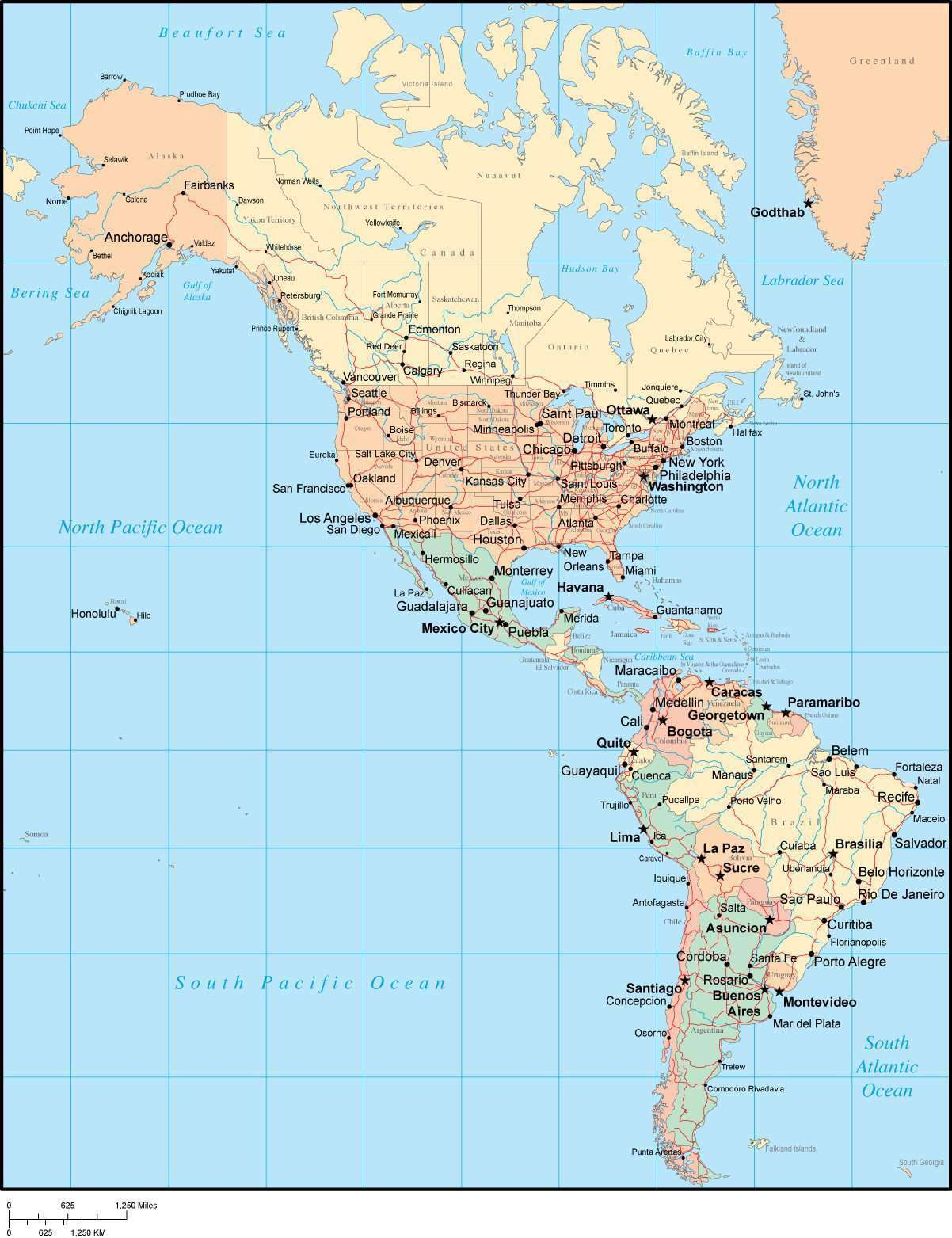 Multi color n s america map with countries major cities for What color is south america
