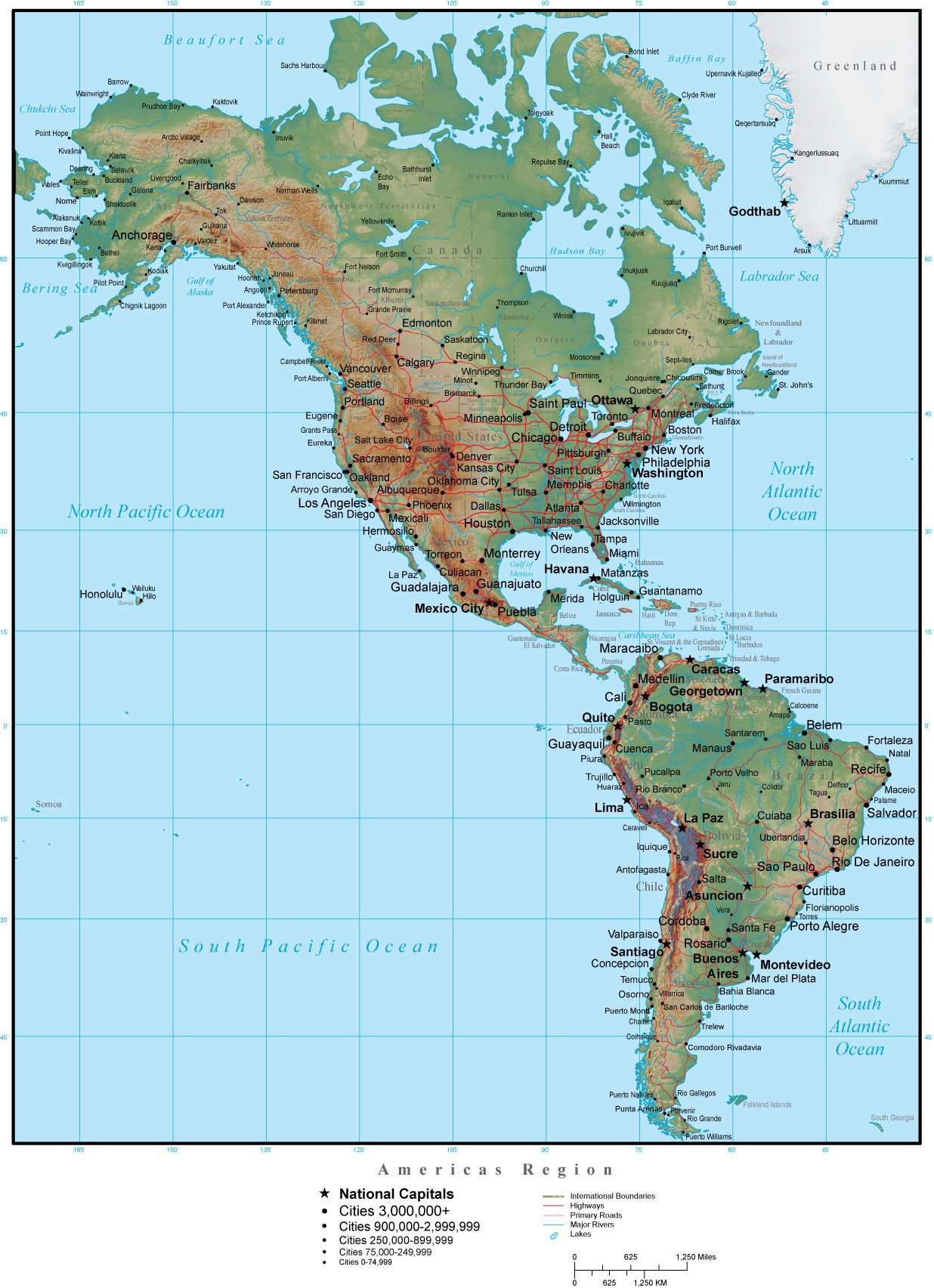 Americas Region Map Plus Terrain with Countries, Capitals, Cities, on map of america newark, map of america with washington dc, map of america carolina, map of america augusta,
