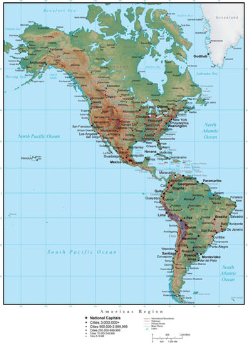 Americas Region in Adobe Illustrator vector format with Photoshop terrain image NS-AMR-952802