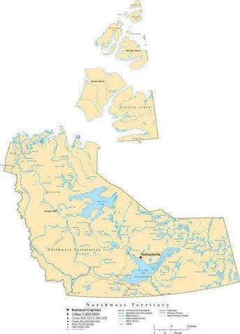 Northwest Territories Map - Cut-Out Style