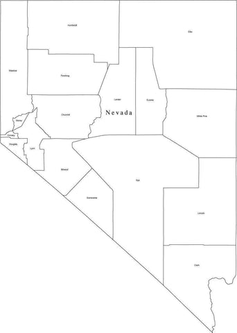 Black & White Nevada Map with Counties