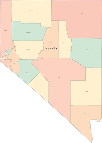 Multi Color Nevada Map with Counties