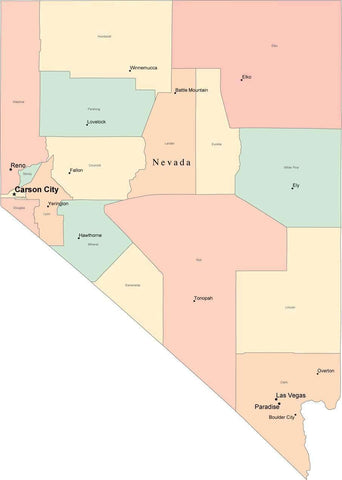 Multi Color Nevada Map with Counties, Capitals, and Major Cities