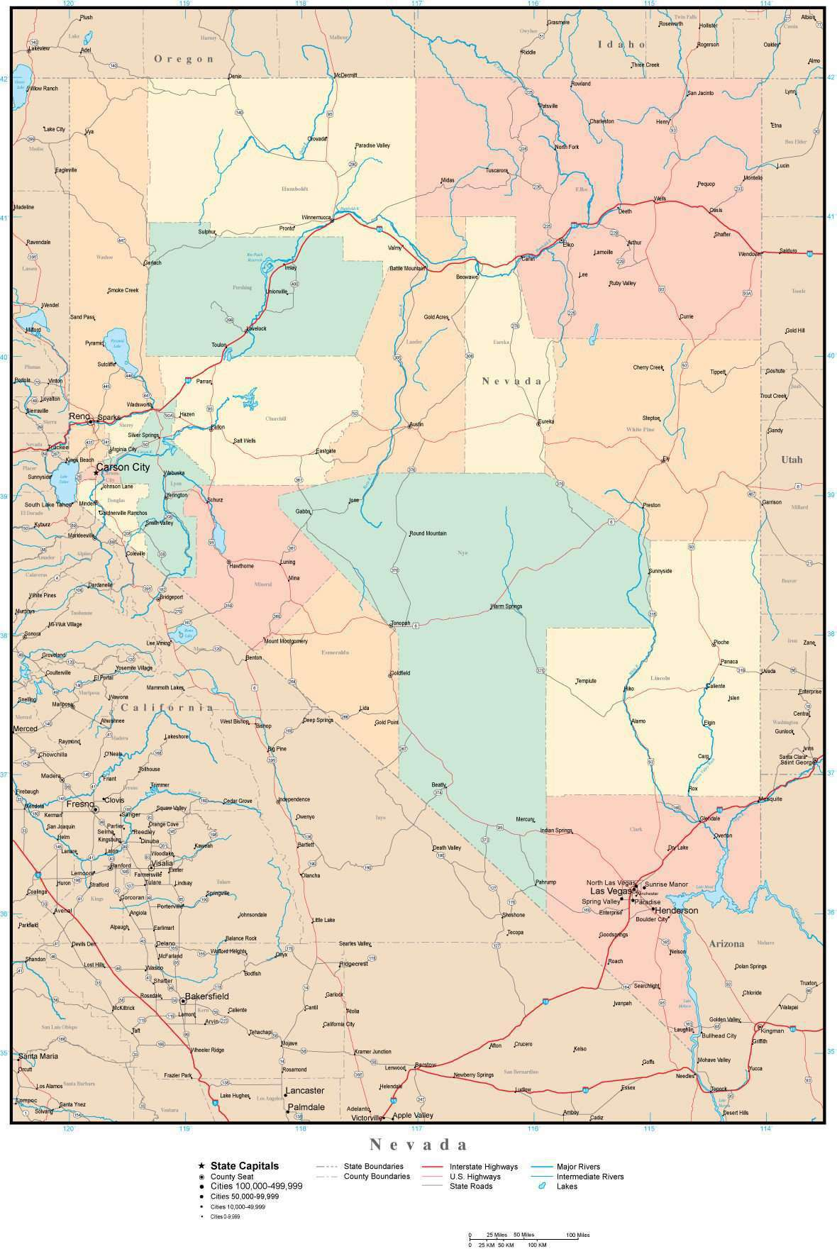 Picture of: Nevada Adobe Illustrator Map With Counties Cities County Seats Major Roads