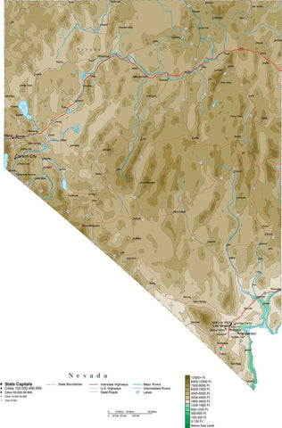 Nevada Map  with Contour Background - Cut Out Style