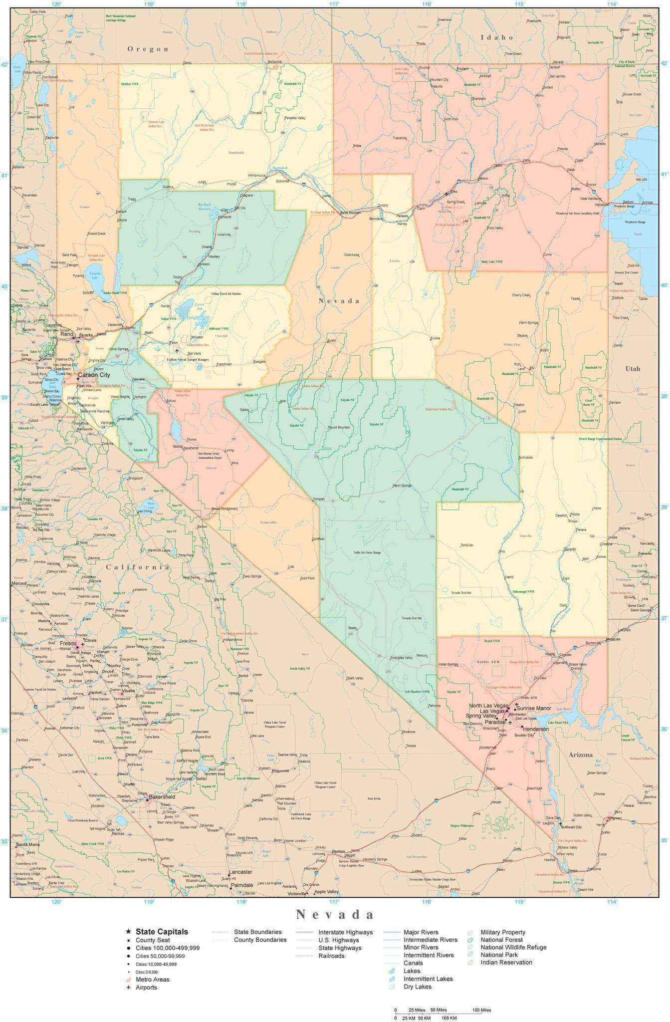 Detailed Nevada Digital Map with Counties, Cities, Highways, Railroads,  Airports, National Parks and more