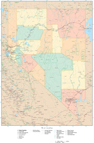Poster Size Nevada Map with Counties, Cities, Highways, Railroads, Airports, National Parks and more