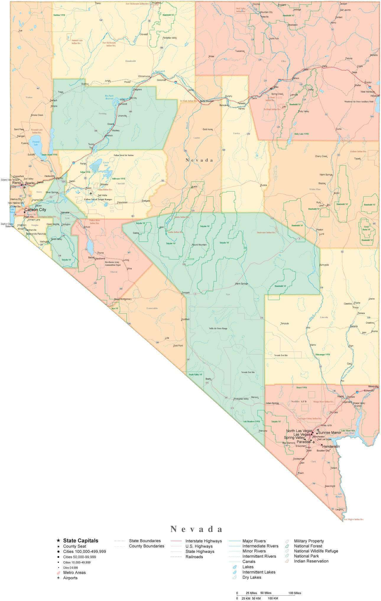 Detailed Nevada Cut-Out Style Digital Map with Counties, Cities, Highways,  National Parks and more