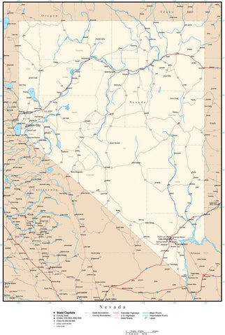 Nevada Map with Capital, County Boundaries, Cities, Roads, and Water Features