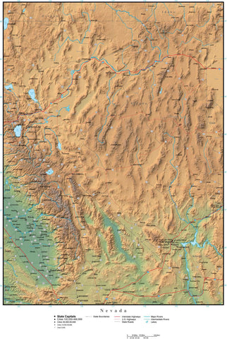 Digital Nevada Terrain map in Adobe Illustrator vector format with Terrain NV-USA-942193