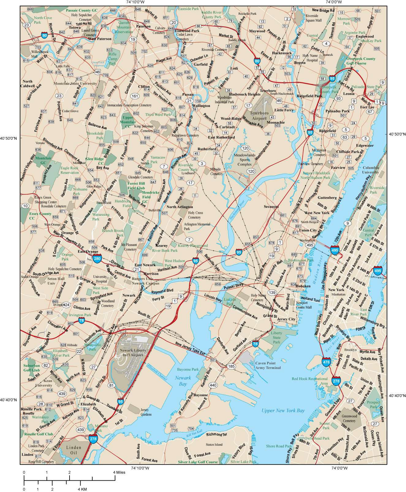Map Of Newark Nj Newark Map Adobe Illustrator vector format – Map Resources