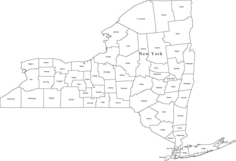 Black & White New York Map with Counties