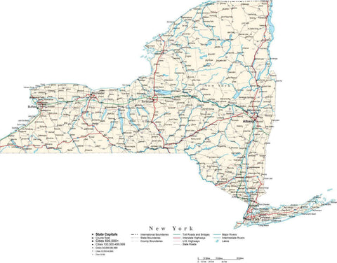 New York State Map - Cut Out Style - with Capital, County Boundaries, Cities, Roads, and Water Features