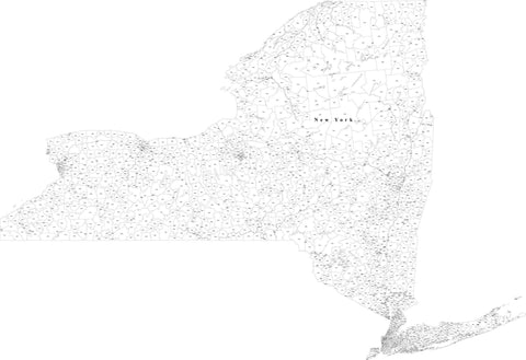 New York State Map with 5 Digit Zip Codes