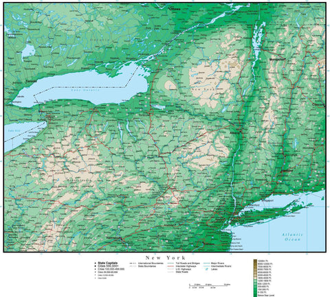 New York State Map with Contour Background