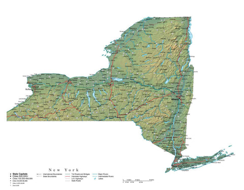 Digital New York State Illustrator cut-out style vector with Terrain NY-USA-241996