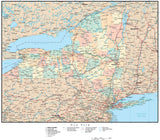 New York Map with Counties, Cities, County Seats, Major Roads, Rivers and Lakes