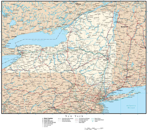 New York State Map with Capital, County Boundaries, Cities, Roads, and Water Features