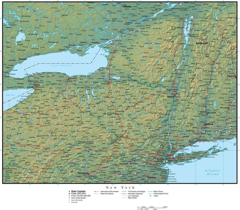 Digital New York Terrain map in Adobe Illustrator vector format with Terrain NY-USA-942223