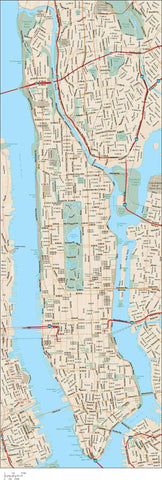 Manhattan Island Adobe Illustrator Vector Map File - 65 square miles - with Local Streets