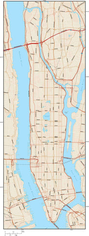 New York City NY Map - Manhattan - 65 square miles