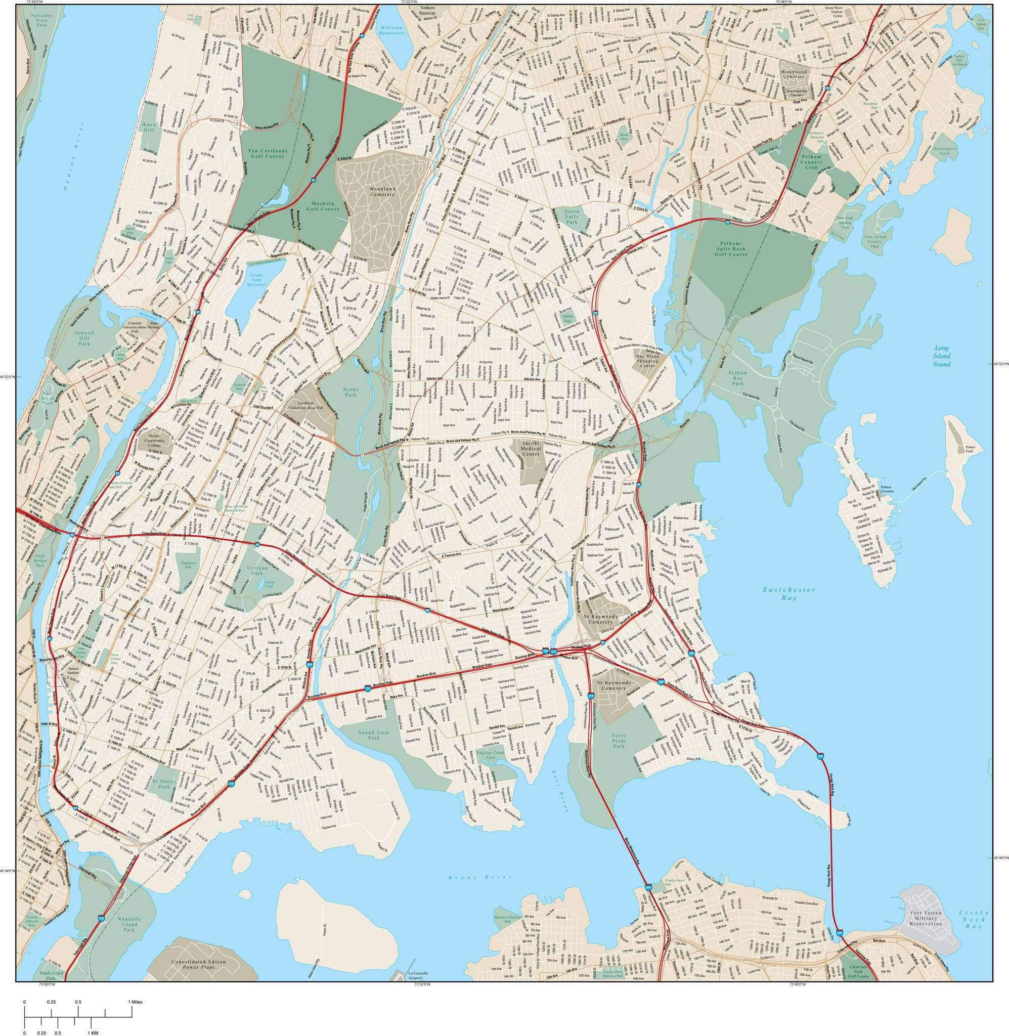 Bronx Vector Map With Local Streets In Adobe Illustrator Vector Format
