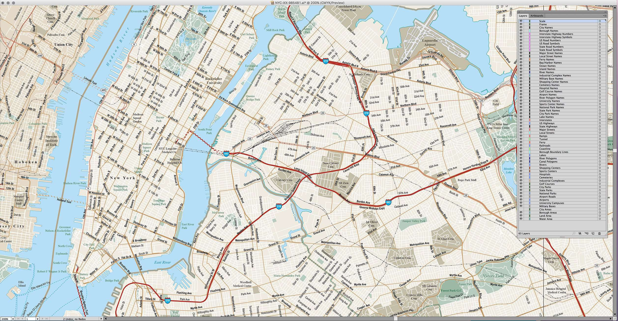 new york city ny metro area with all local streets