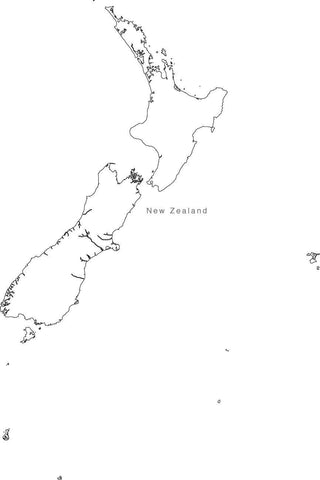 Digital Black & White New Zealand map in Adobe Illustrator EPS vector format