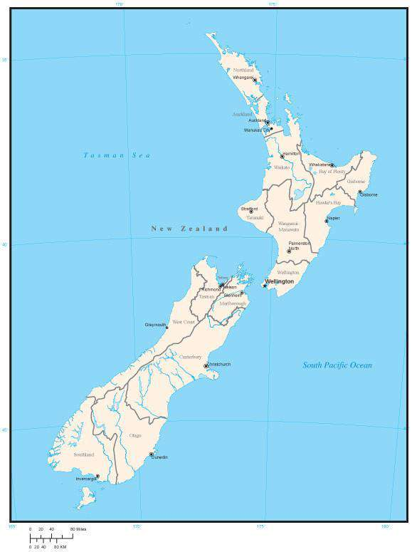New Zealand Cities Map.New Zealand Map With Region Areas And Capitals