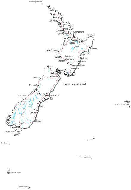 New Zealand Cities Map.New Zealand Black White Map With Capital Major Cities Roads And Water Features