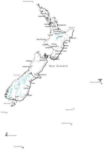 New Zealand Black & White Map with Capital, Major Cities, Roads, and Water Features