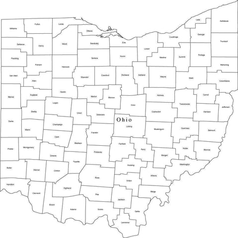 Black & White Ohio Map with Counties