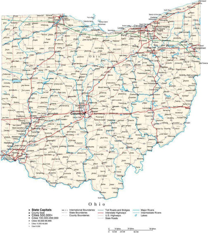 Ohio Map - Cut Out Style - with Capital, County Boundaries, Cities, Roads, and Water Features