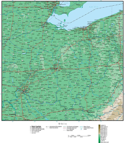 Ohio Map with Contour Background