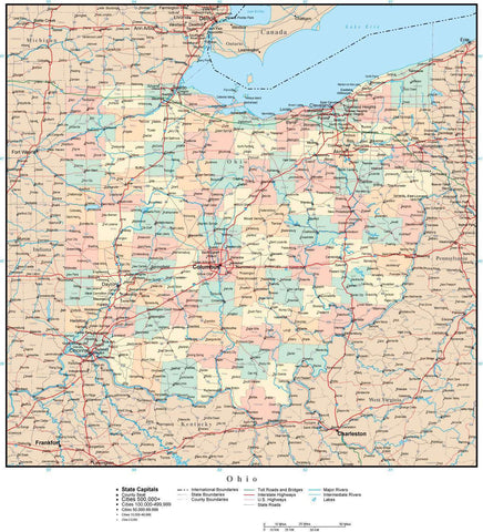 Ohio Map with Counties, Cities, County Seats, Major Roads, Rivers and Lakes