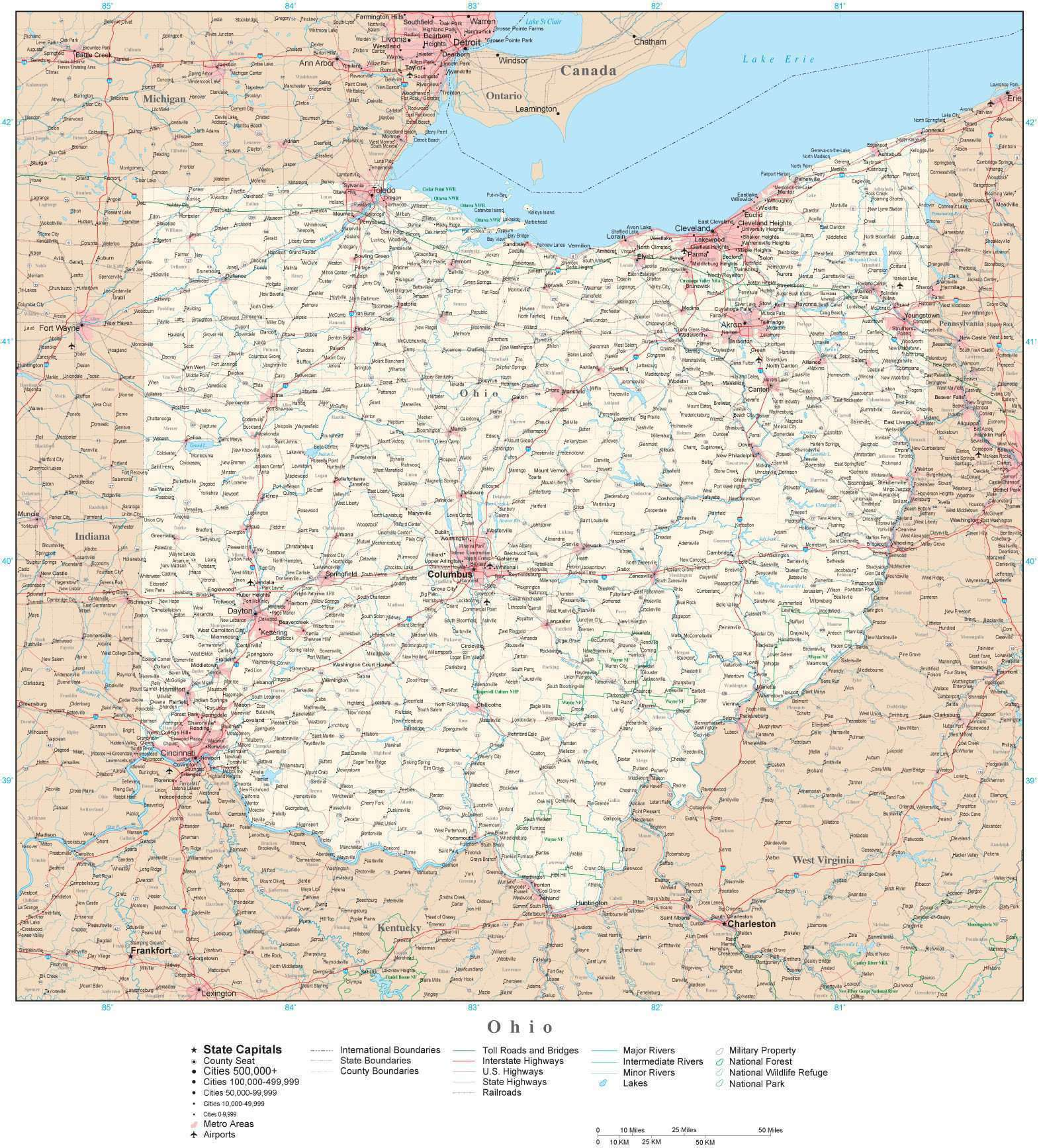 Detailed Ohio Digital Map with County Boundaries, Cities, Highways,  National Parks, and more