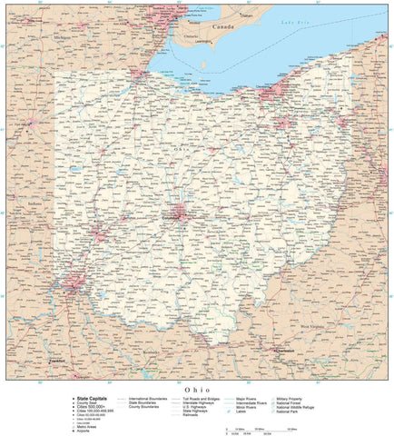 Poster Size Ohio Map with County Boundaries, Cities, Highways, National Parks, and more