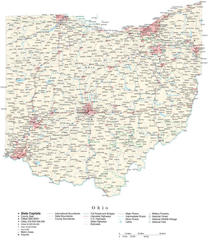Poster Size Ohio Cut-Out Style Map with County Boundaries, Cities, Highways, National Parks, and more