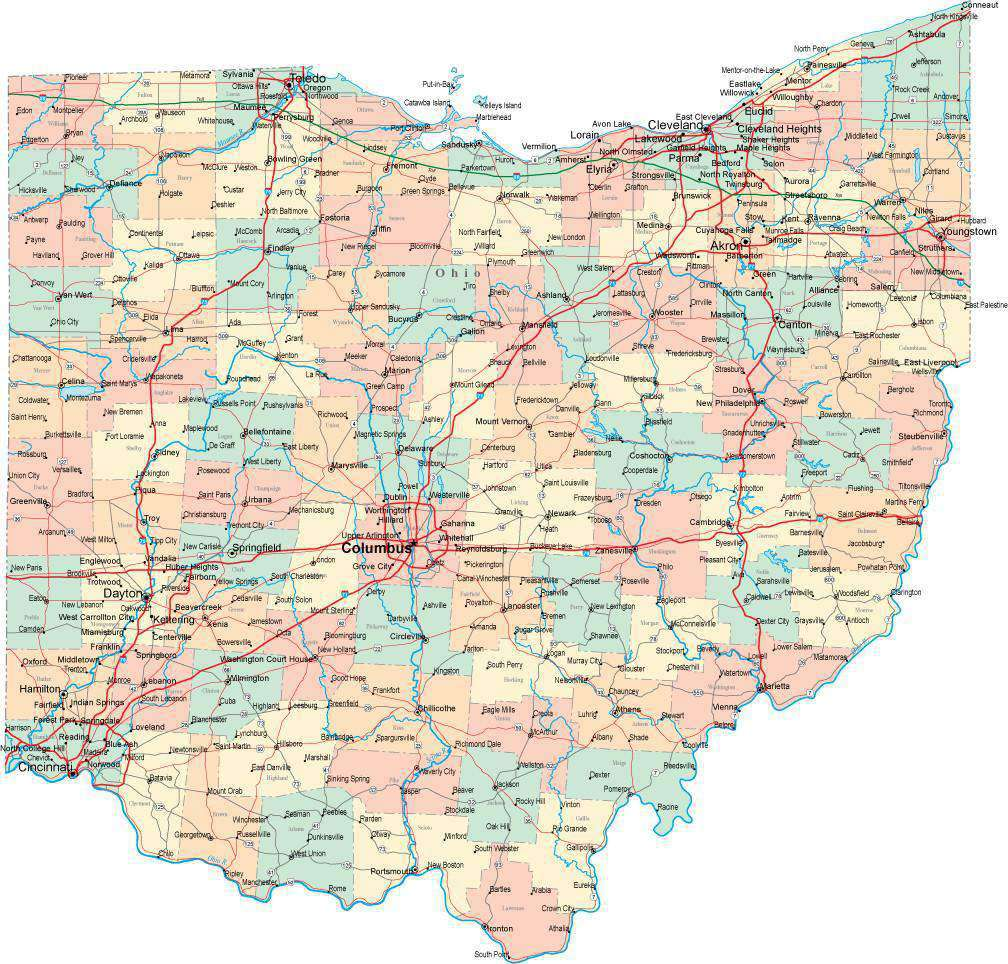 Ohio State Map - Multi-Color Style - Fit Together Series