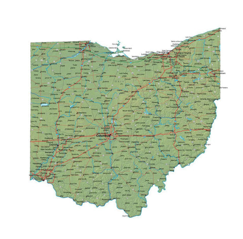 Digital Ohio map in Fit Together style with Terrain OH-USA-852092
