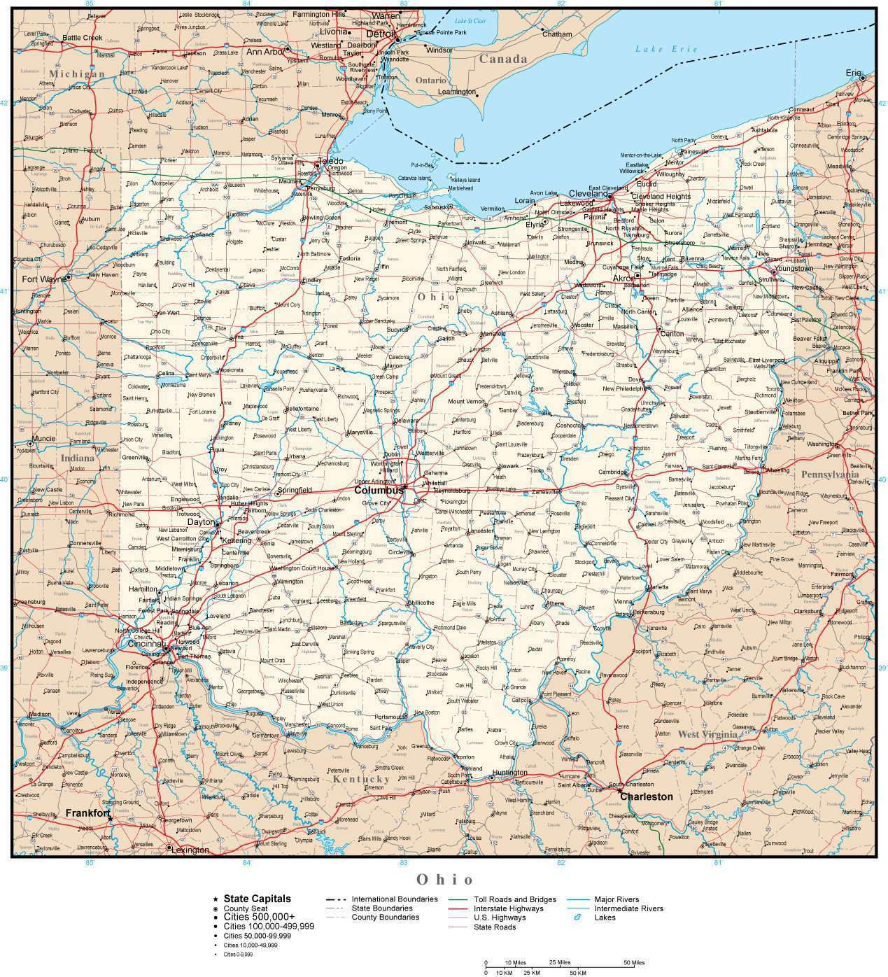 Ohio Outline Map with Capitals & Major Cities- Digital ... |Ohio State Capital Map