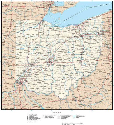 Ohio Map with Capital, County Boundaries, Cities, Roads, and Water Features