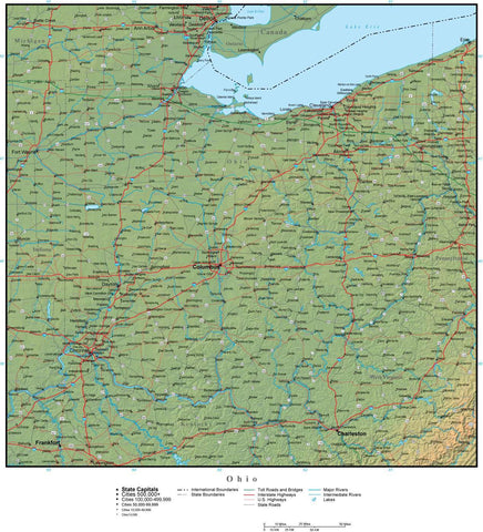 Digital Ohio Terrain map in Adobe Illustrator vector format with Terrain OH-USA-942218