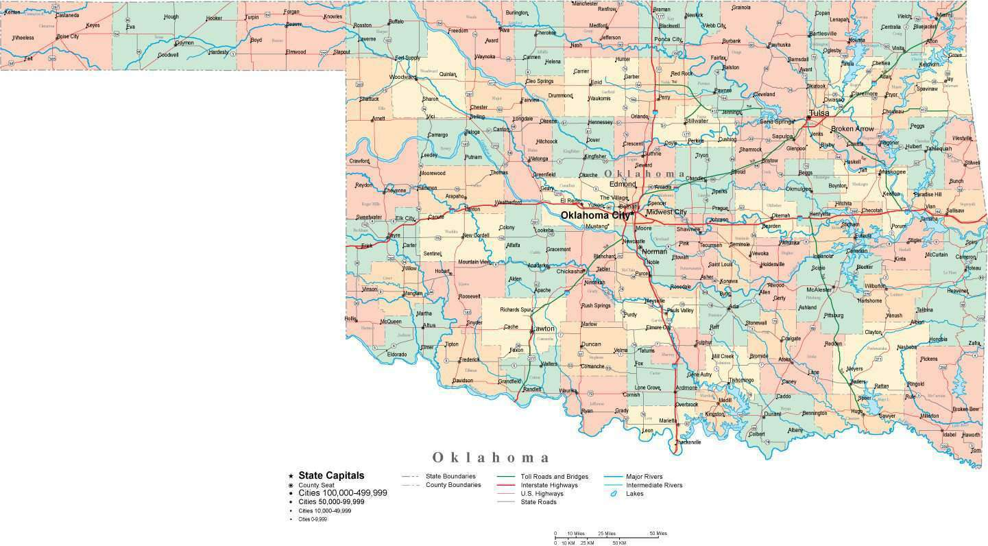 Oklahoma Digital Vector Map With Counties Major Cities Roads